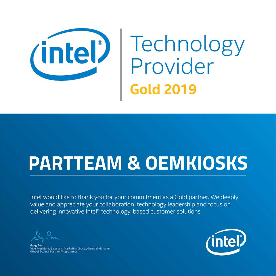 PARTTEAM & OEMKIOSKS receives certificate INTEL - Technology Provider Gold 2019