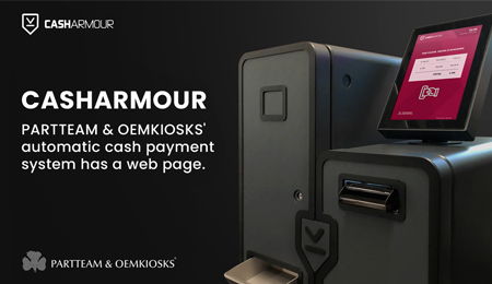 PARTTEAM & OEMKIOSKS CASHARMOUR automatic cash payment system has a web page