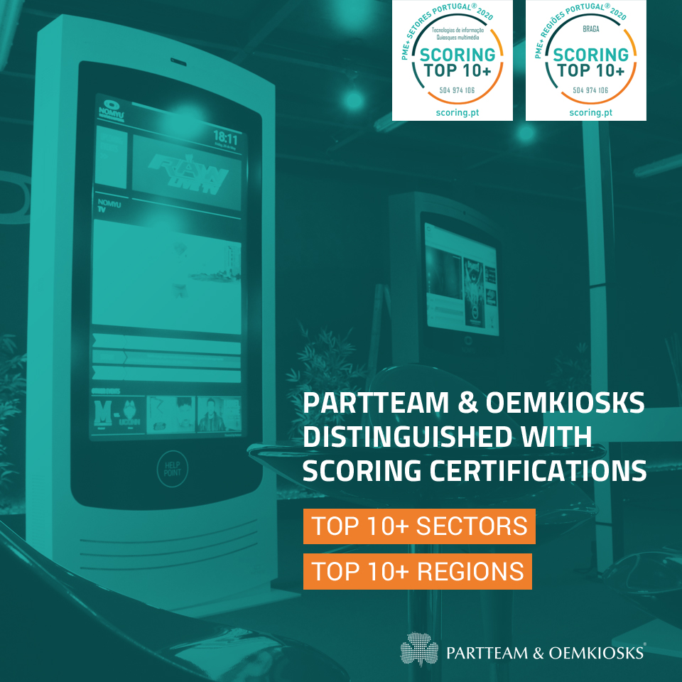 PARTTEAM & OEMKIOSKS distinguished with Top 10+ Sectors and Top 10+ Regions certification – Portugal 2020