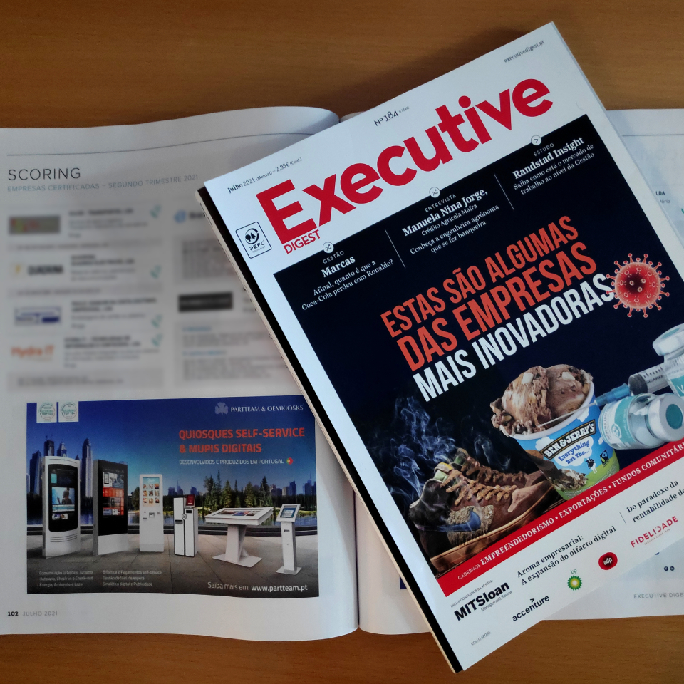 PARTTEAM & OEMKIOSKS highlighted in Executive Digest magazine with certification Top 5% Best SME in Portugal